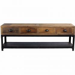 Meuble TV vintage industriel métal & vieux bois ouvrant à 4 tiroirs