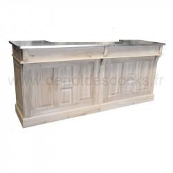 Comptoir Bar en chêne massif de 300 cm avec plateau en Zinc