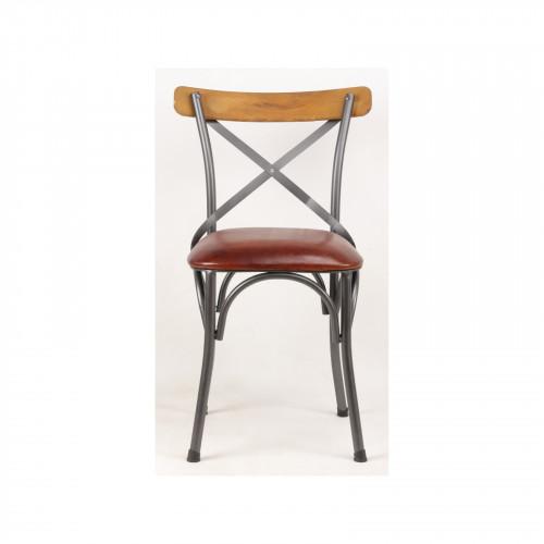 Chaise «Oslo» de bistrot industrielle en cuir