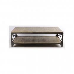 Table basse «Alta» industrielle 140 X 85cm en bois et en fer