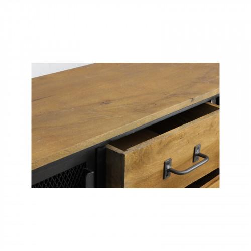 Buffet «Katy» sur roulette de style industriel en fer et en bois