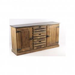 Enfilade «Moss» industrielle 160x45 en bois naturel vieilli et plateau en zinc