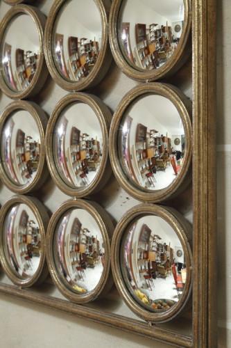 Grand miroir sorcière en métal de style industriel 104x104 cm