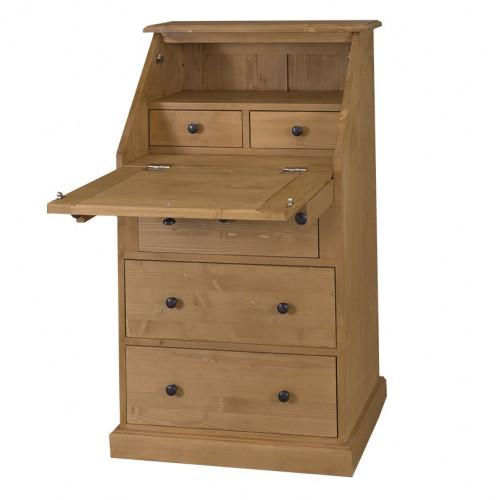 Secrétaire bureau en bois massif ROMANE - 65x45x110 cm
