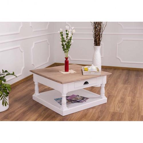 Table basse en bois massif ROMANE - 90x90x47 cm