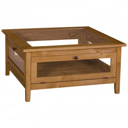 Table basse en pin massif ROMANE plateau en verre - 90x90x45 cm