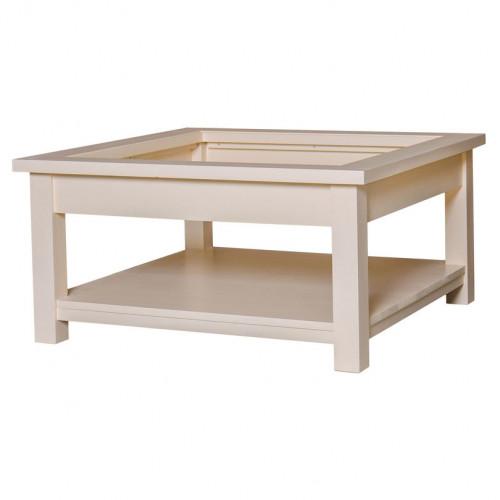 Table basse carré avec plateau en verre