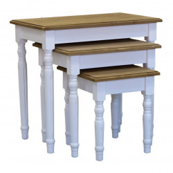 Lot de 3 tables gigogne en bois massif