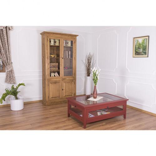 Table de salon vitrée avec portes latérales