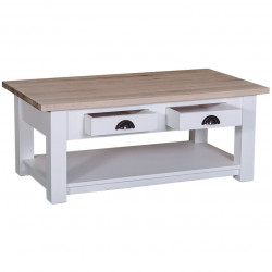 Table de salon en bois massif ROMANE - 120x65x45 cm