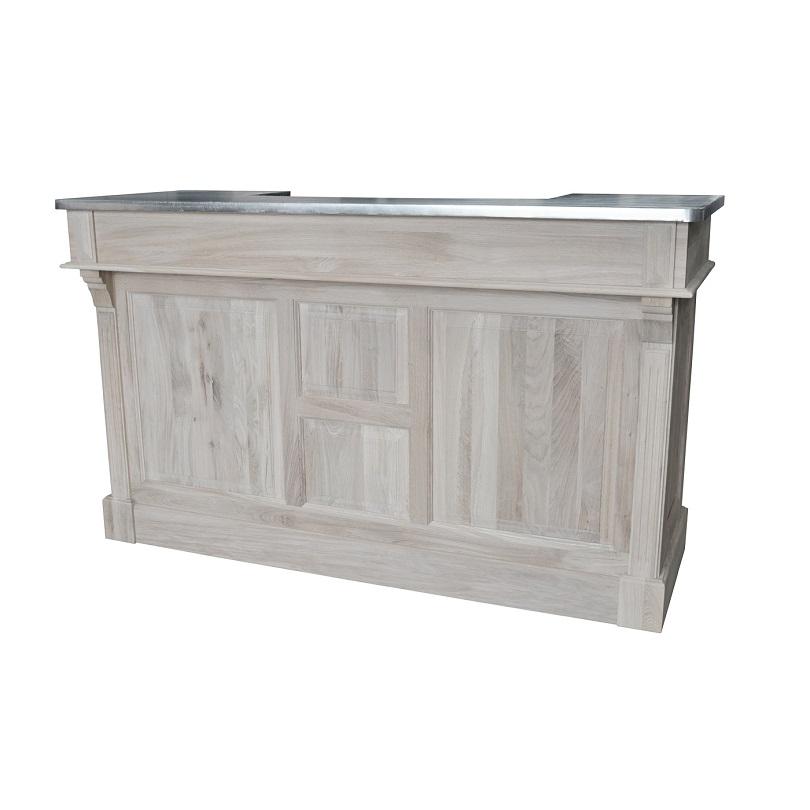 comptoir bar en ch ne massif 180 cm plateau zinc demeure et jardin. Black Bedroom Furniture Sets. Home Design Ideas