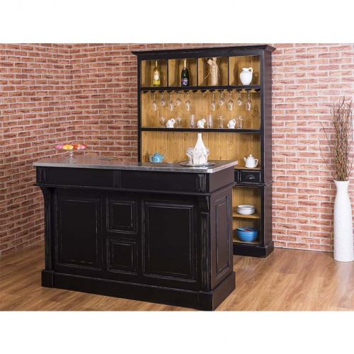 Comptoir Bar en pin massif plateau Zinc acier - 160x65x107 cm
