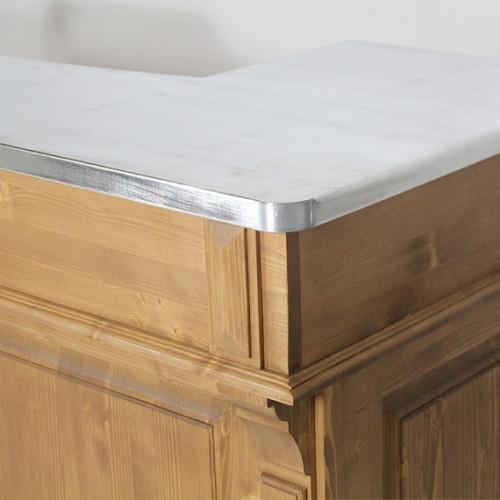 Comptoir Bar en pin massif plateau Zinc acier - 180x65x107 cm