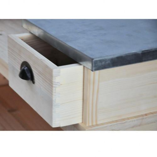 Comptoir Bar d'angle en pin massif plateau Zinc acier - (140+140)x51x107 cm