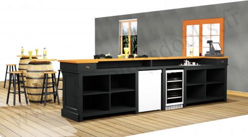 Comptoir Bar PROFESSIONNEL avec espace Lave-verres et machine à glaçons en pin massif plateau Zinc - 400x78x107 cm