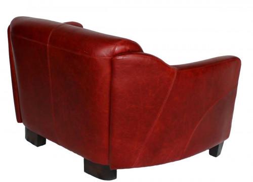 Canapé vintage OXFORD en cuir rouge