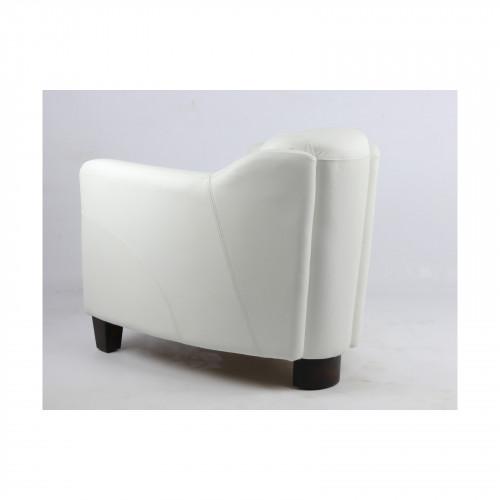 Fauteuil vintage OXFORD en cuir blanc