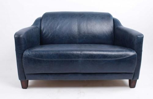 Canapé vintage OXFORD en cuir bleu