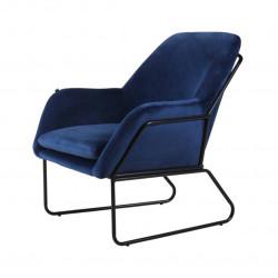 Fauteuil FILIP pieds métal noir revêtement velours bleu