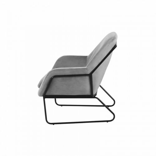 Fauteuil FILIP pieds métal noir revêtement velours Gris