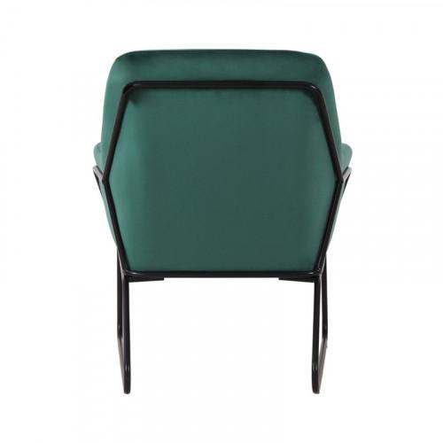 Fauteuil FILIP pieds métal noir revêtement velours Vert