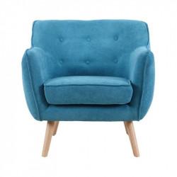 Fauteuil LUND de style scandinave en velours bleu