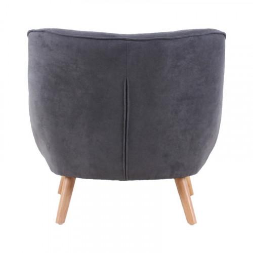 Fauteuil LUND de style scandinave en velours gris anthracite