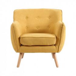 Fauteuil LUND de style scandinave en velours jaune