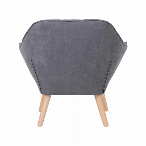 Fauteuil VISBY de style scandinave en suedine gris anthracite