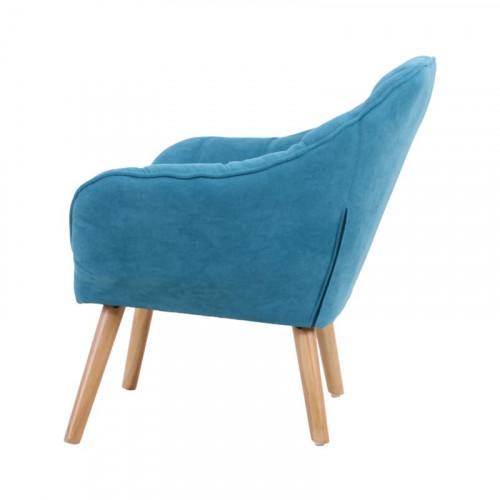 Fauteuil VISBY de style scandinave en suedine bleu turquoise