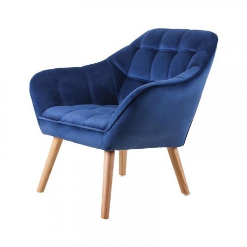 Fauteuil VISBY de style scandinave en velours bleu roi