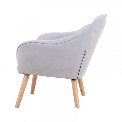 Fauteuil VISBY de style scandinave en velours gris clair