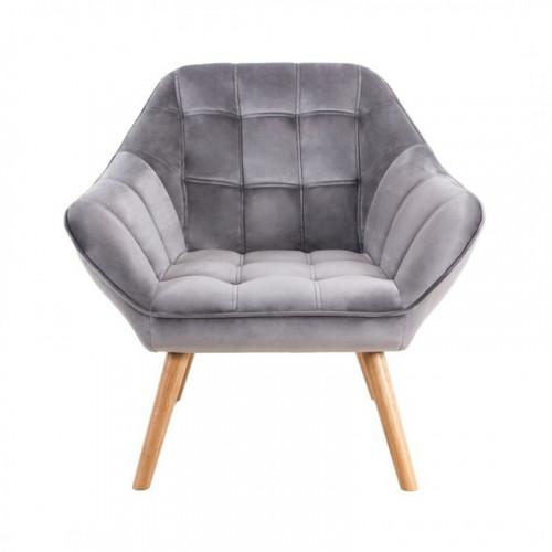 Fauteuil VISBY de style scandinave en velours gris