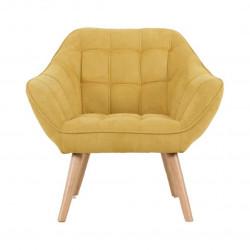 Fauteuil VISBY de style scandinave en suedine jaune