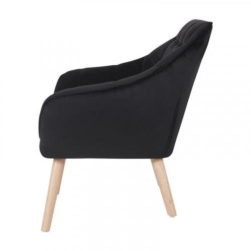 Fauteuil VISBY de style scandinave en velours noir