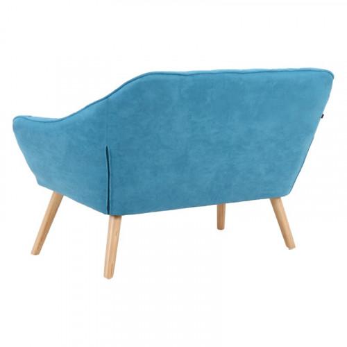 Banquette VISBY de style scandinave en suedine bleu turquoise