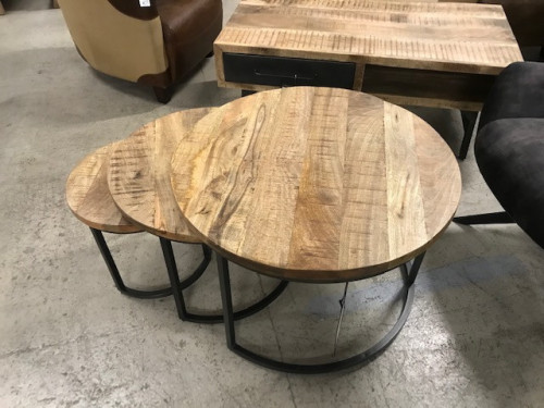 Table Gigogne Industriel en Métal & Manguier | 77x50x77cm