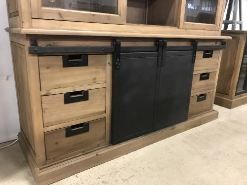 Buffet cabinet vintage industriel métal & vieux bois - 165x50x236 cm