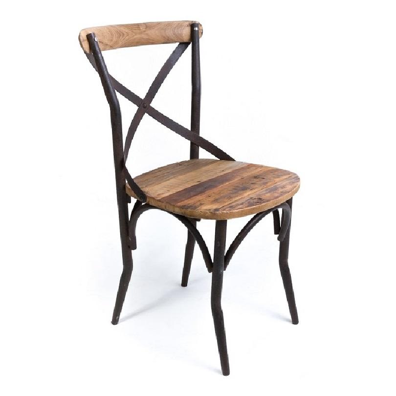 Chaise bistrot de style vintage industrielle m tal et vieux bois demeure et jardin - Chaise style industrielle ...