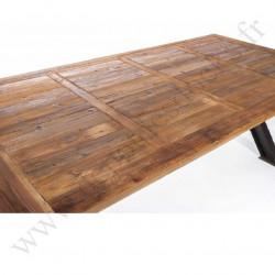 Plateau en vieux bois 250x100 cm pour Pied de table à manivelle industrielle