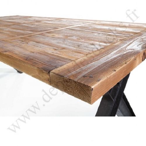 Plateau en vieux bois 200x100 cm pour Pied de table à manivelle industrielle
