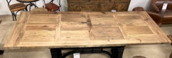 Plateau bois recyclé - table à manivelle industrielle