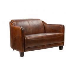 Canapé vintage en cuir cigare - 122x79x68 cm