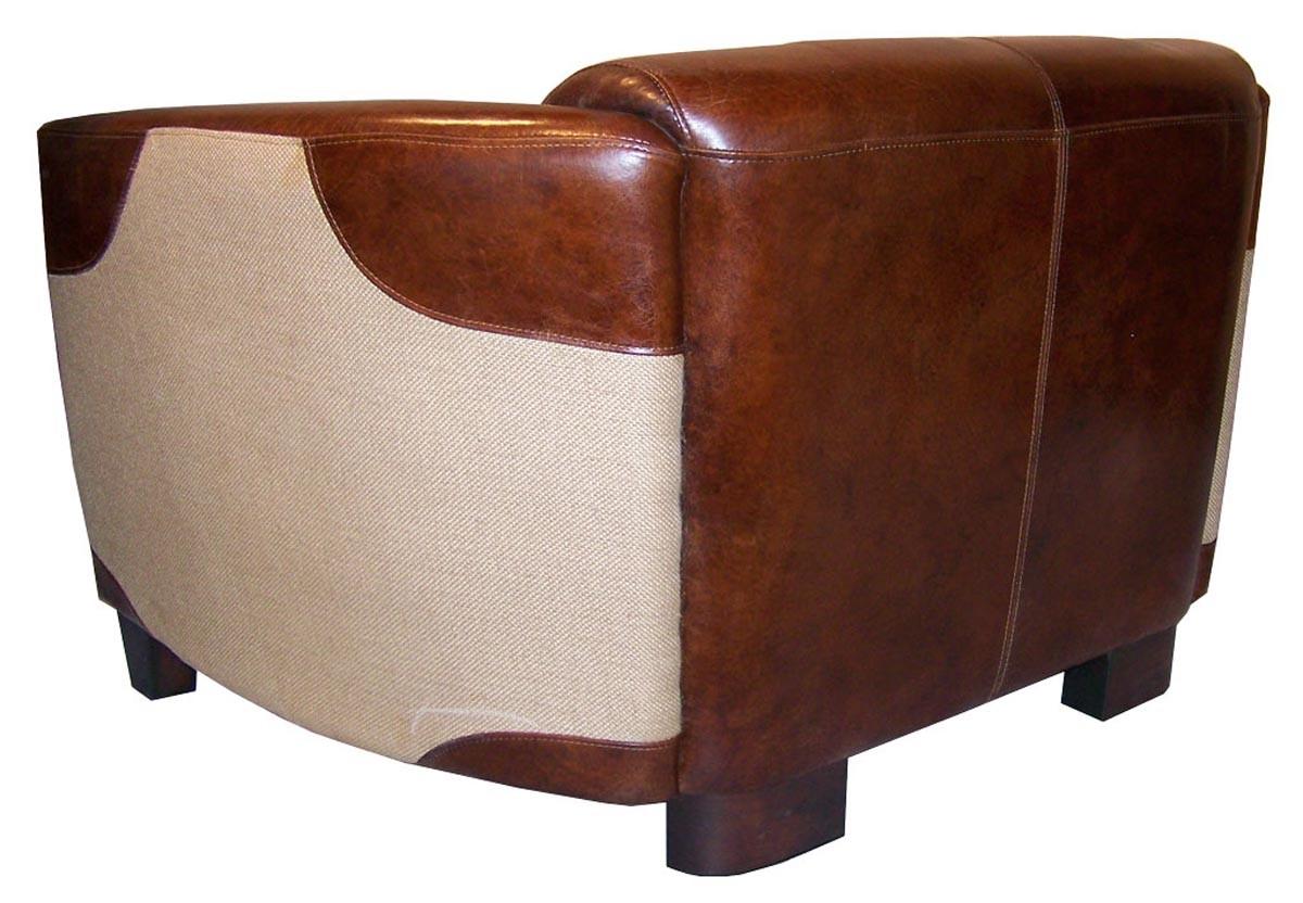 Canapé En Toile De Jute canapé « l'élégant » en cuir et empiècement en toile de jute