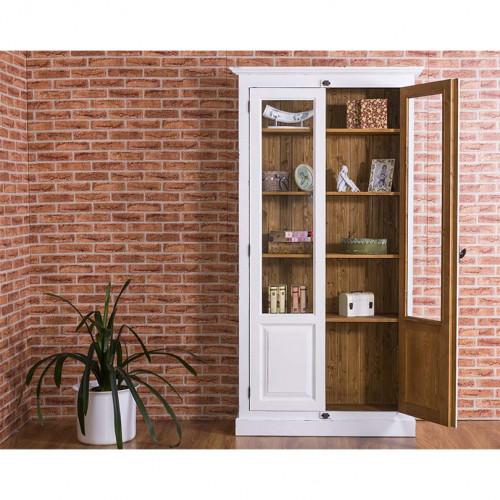 Bibliothèque Vitrine 2 Portes et 4 tablettes ROMANE | 110x40x210 cm