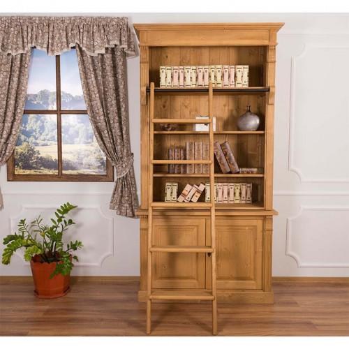 Bibliothèque avec échelle en bois massif   120x51x228cm