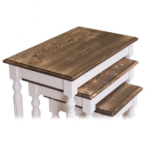 3 Tables Gigogne en Bois Massif ROMANE | 64x40x60cm