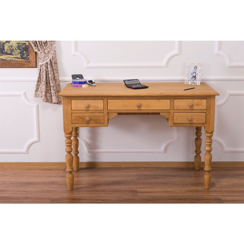 Bureau en bois massif avec 5 Tiroirs ROMANE | 130x65x83cm