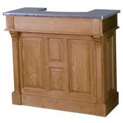 Comptoir Bar en chêne Plateau Zinc acier | 140cm