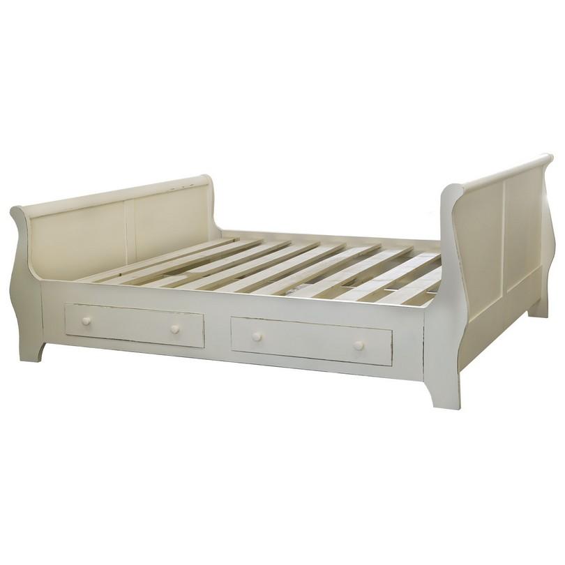 lit bateau romane 2 personnes 140x190 cm de style louis philippe avec 2 tiroirs de rangement. Black Bedroom Furniture Sets. Home Design Ideas